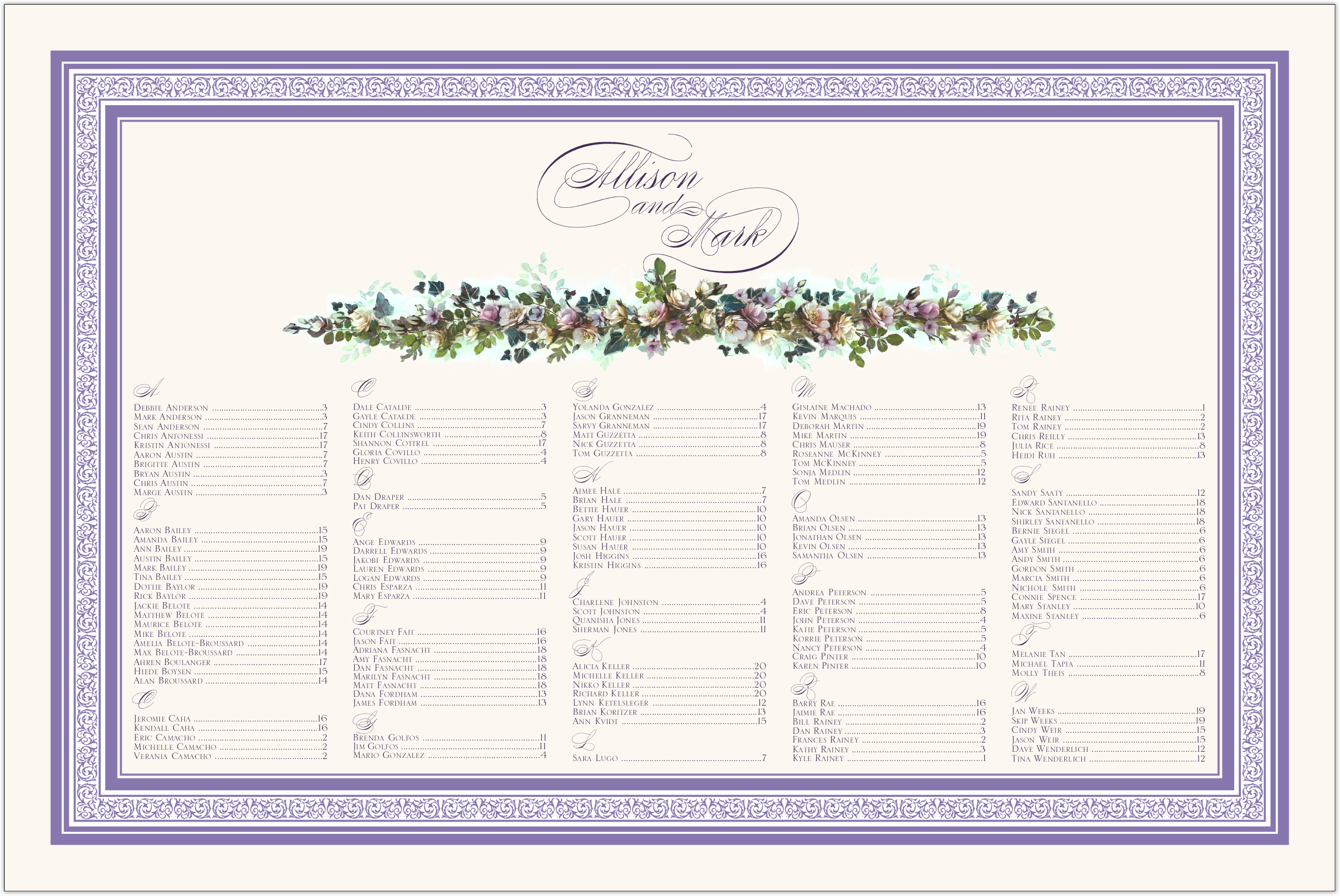 Lavenders Cascade Seating Charts
