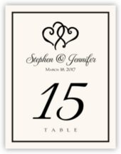 Linked Hearts Wedding Table Number Cards