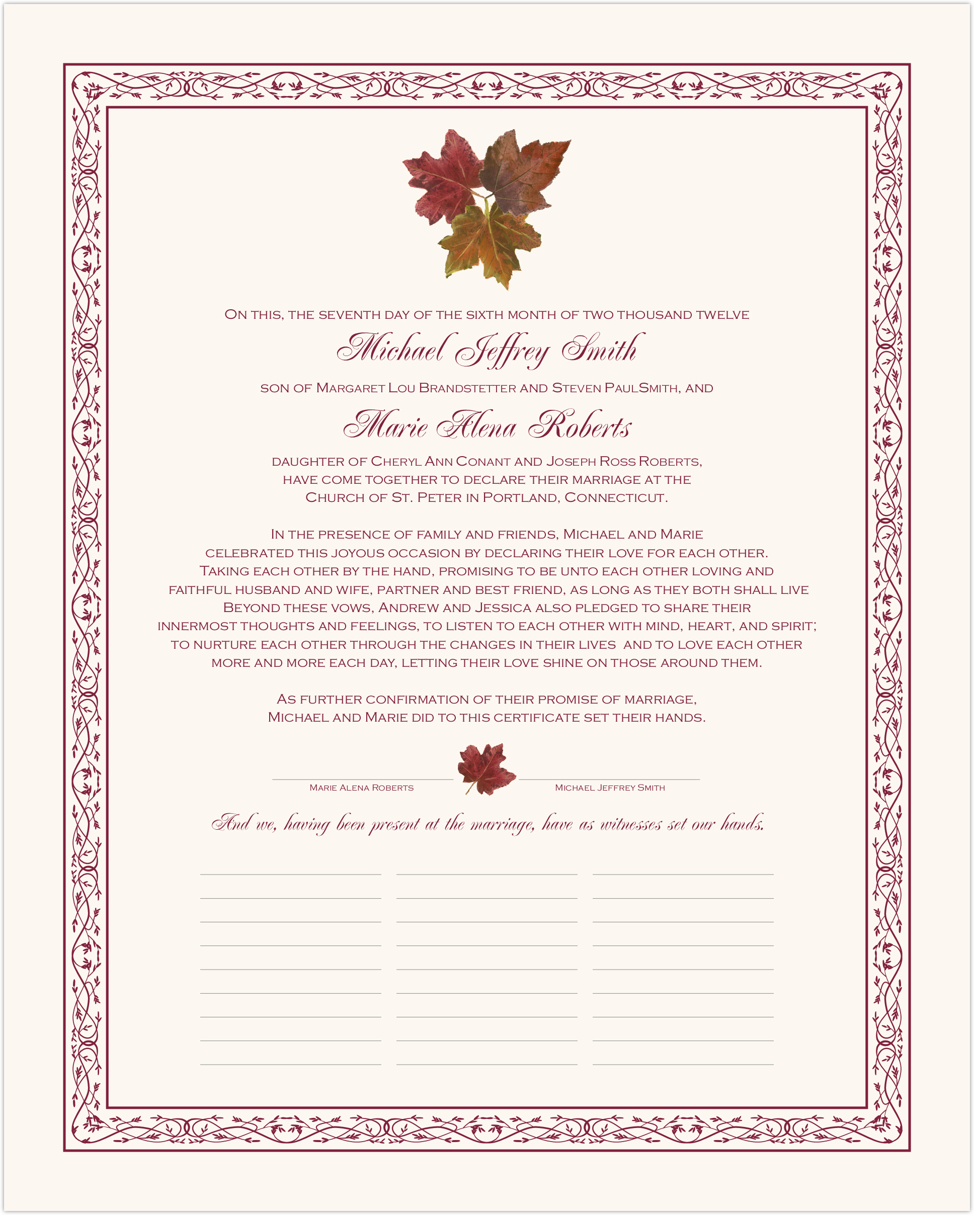 Tri Maple Leaf Pattern Wedding Certificates