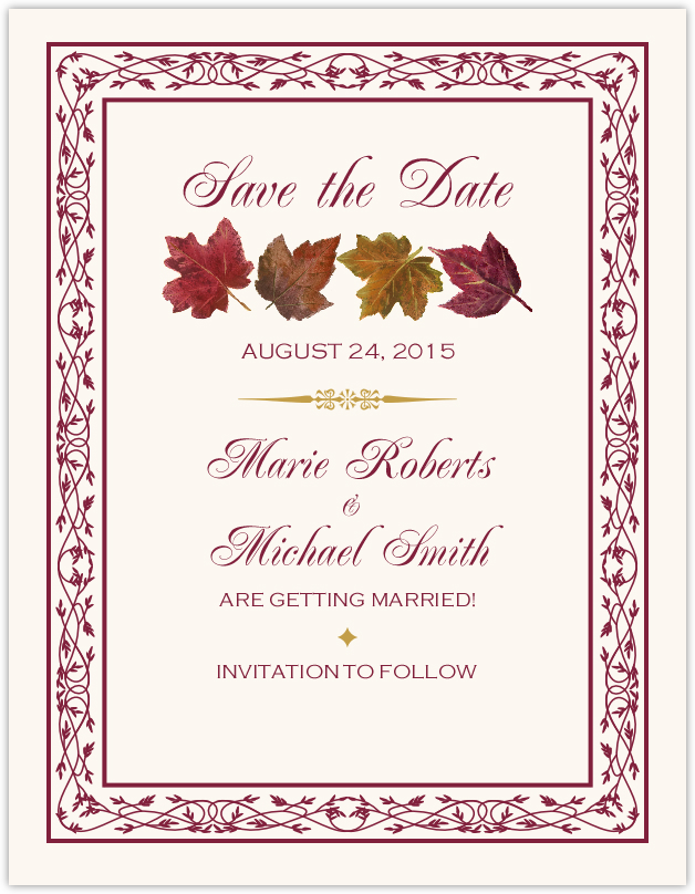 Maple Leaf Pattern Autumn Wedding Save the Date Cards and Fall ...