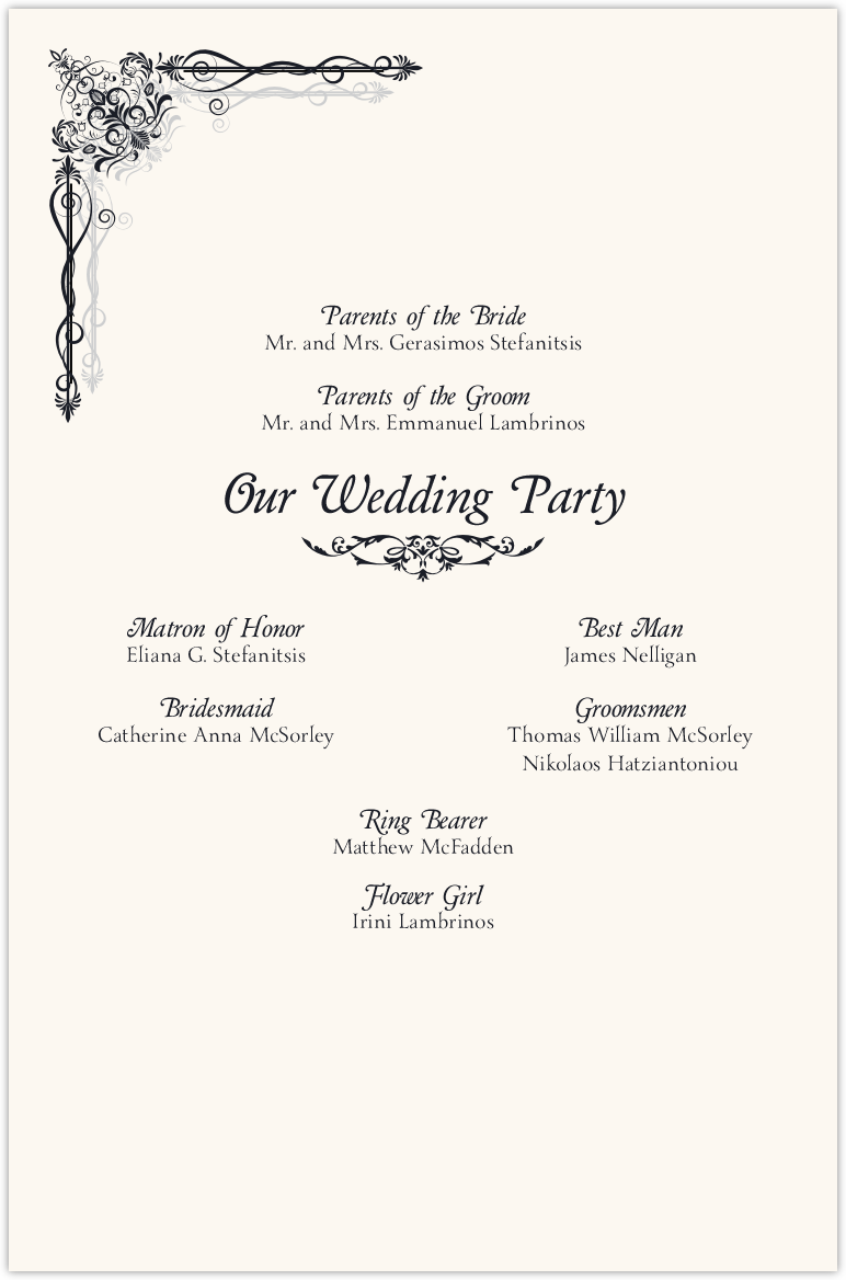 Midsummer's Night Dream Wedding Programs