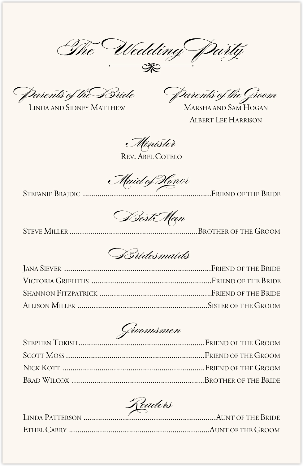 Nighthawk Flourish Birds Wedding Programs