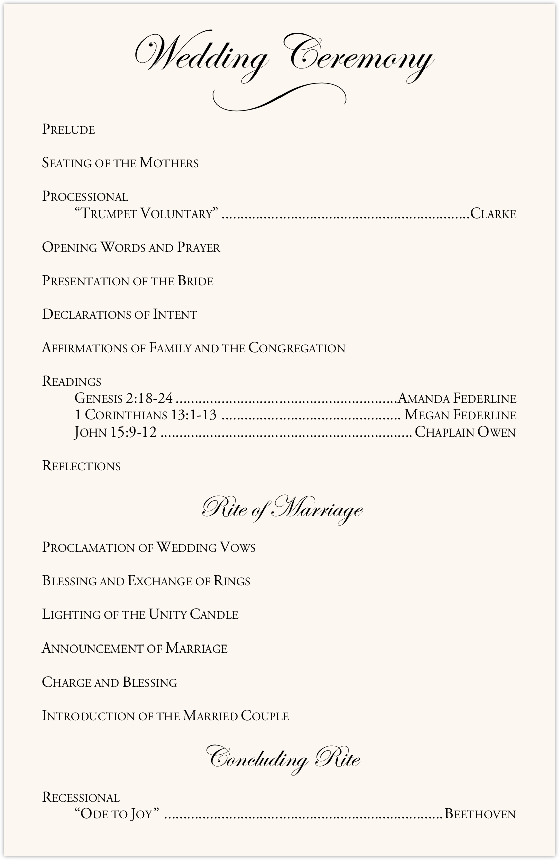 Orchid Cascade Wedding Programs