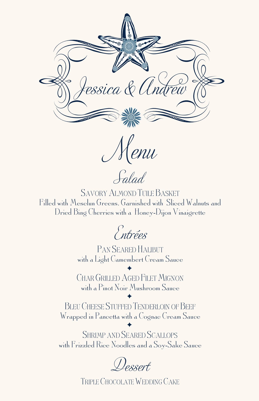 Starfish Ocean Wedding Menu Cards Beach Wedding Menu Card Custom Design For Ocean Wedding Reception Documents And Designs