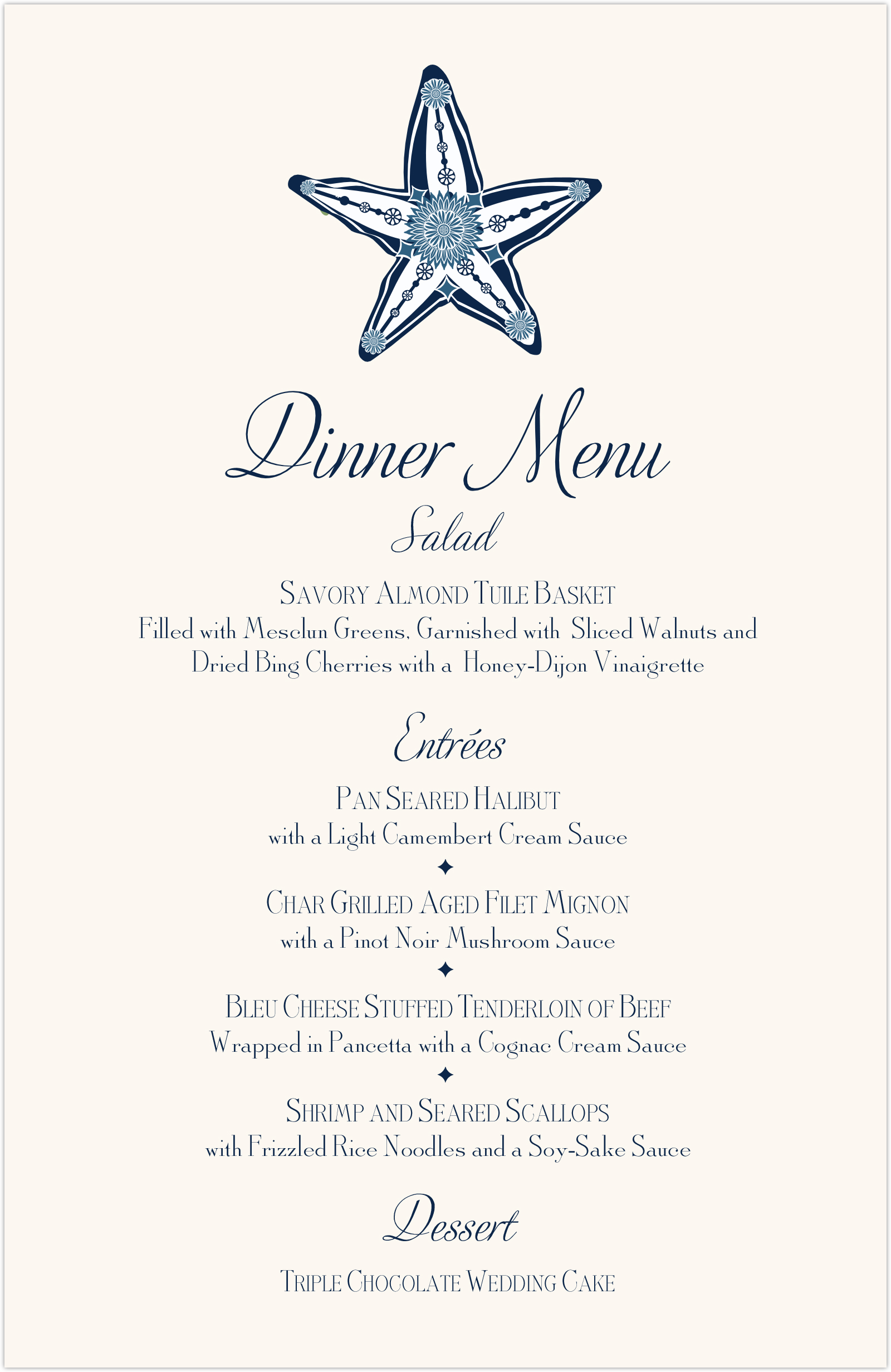 Paisley Starfish Monogram Wedding Menus