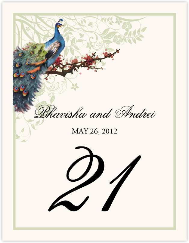 Peacock in a Plum Tree Flourish Table Numbers