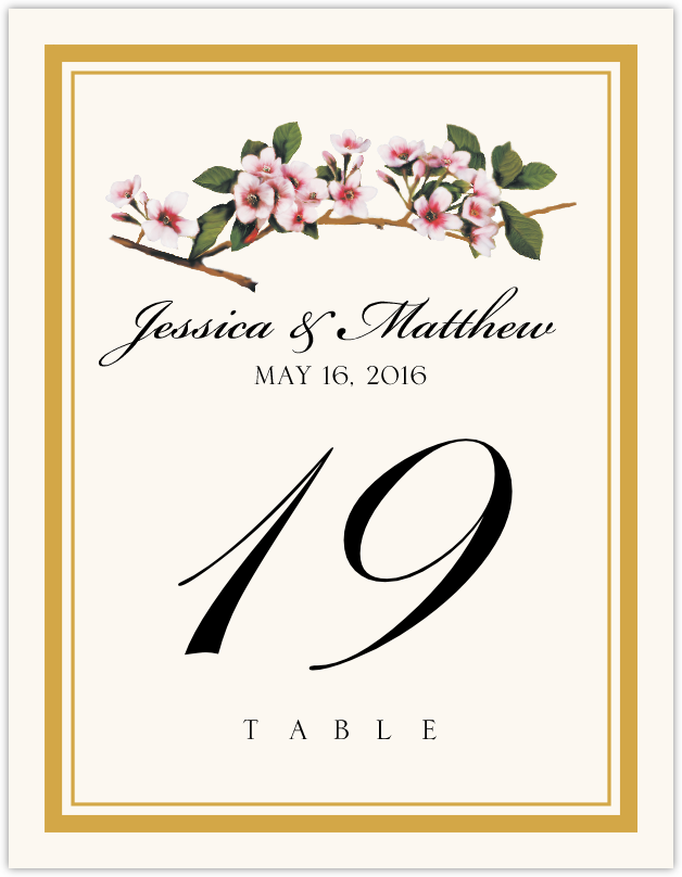 Cherry Blossoms Table Numbers