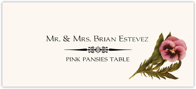 Pink Pansies Place Cards