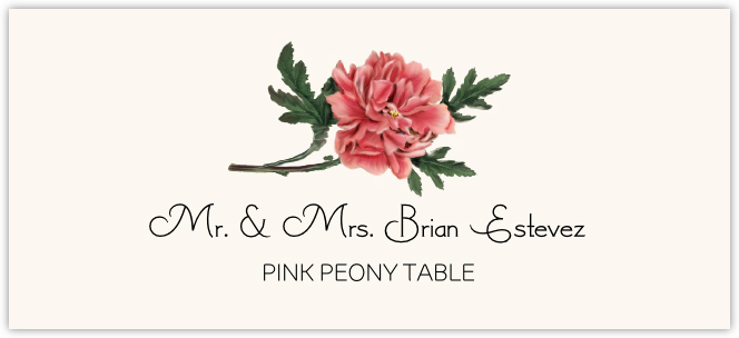 Pink Peony Place Cards