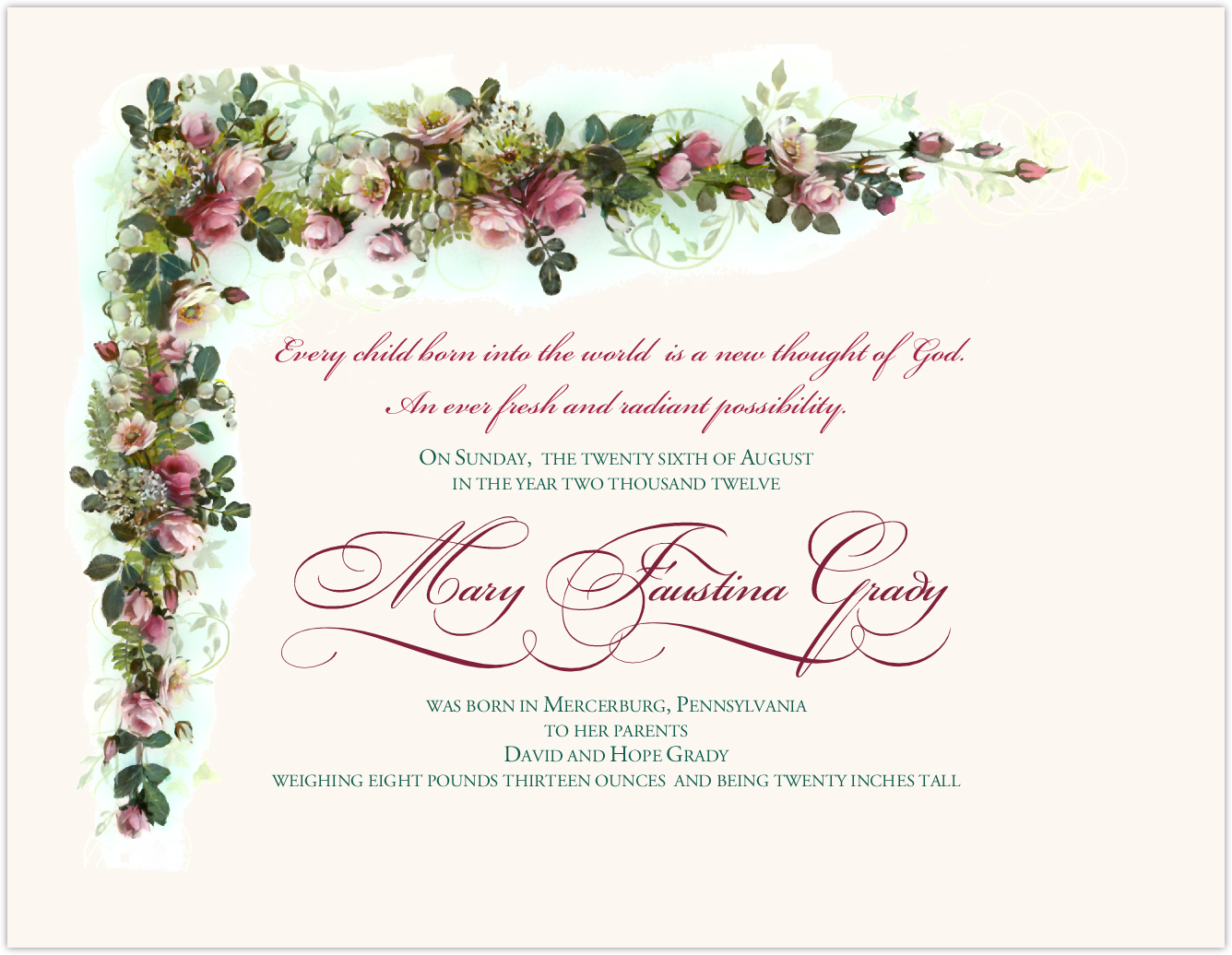Pink Roses and Lily of the Valley Baby Certificates