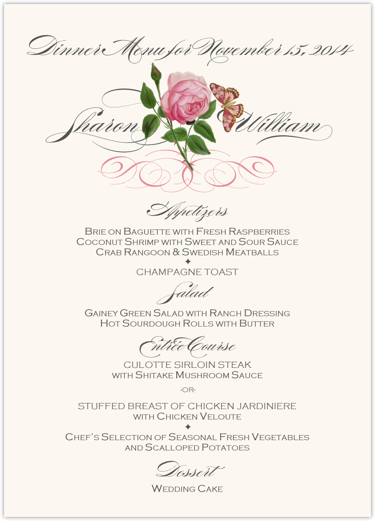 Pink tea rose wedding menu cards custom wedding reception menus pink tea rose wedding menus mightylinksfo