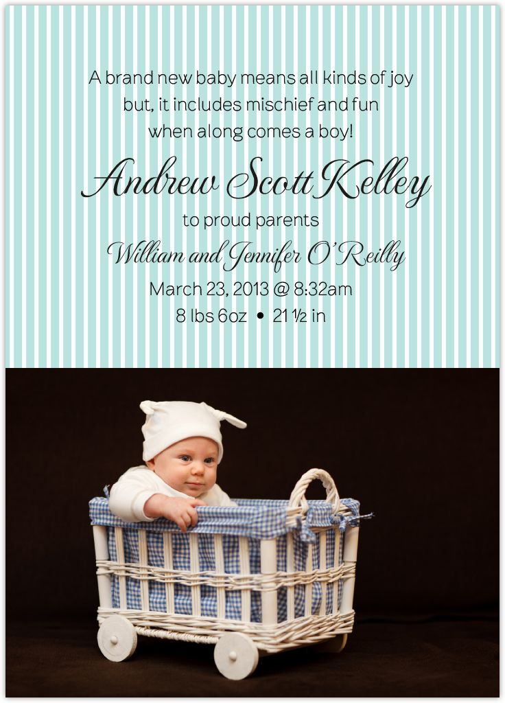 Pinstripes Birth Announcements