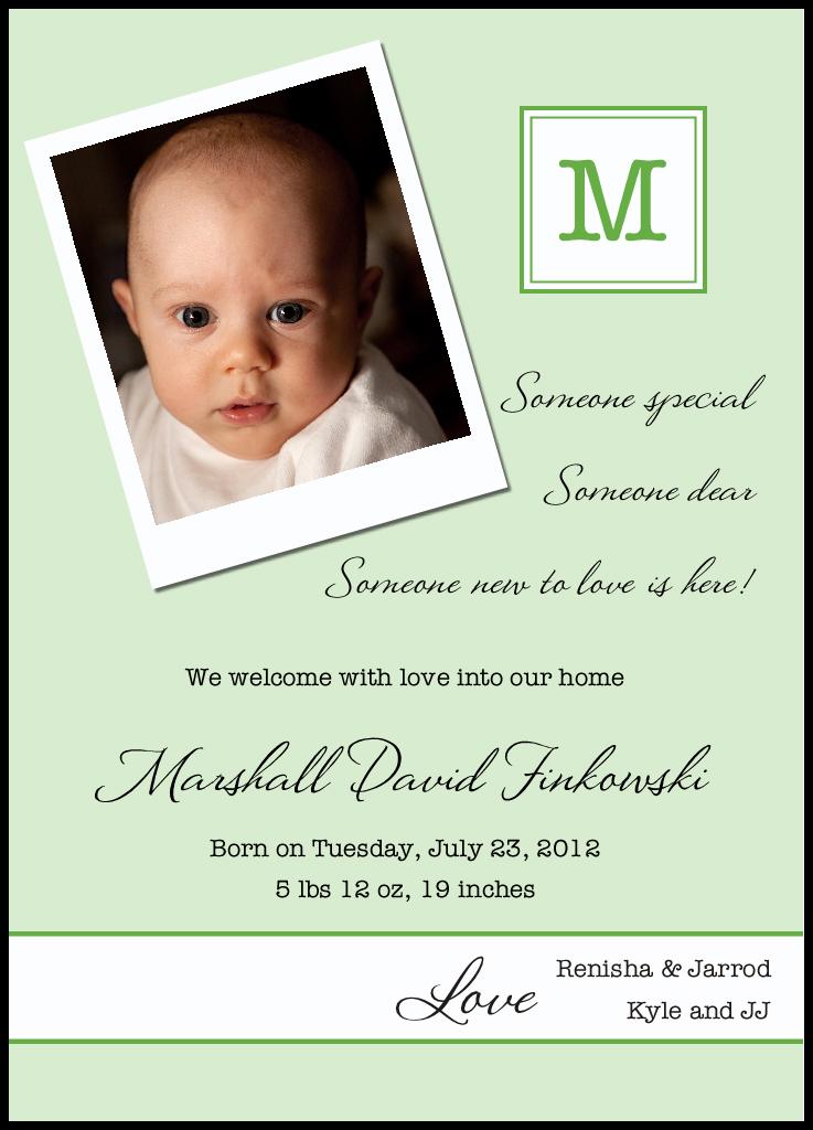 Polaroid Green Birth Announcements