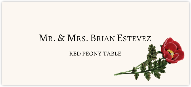 Red Peony Place Cards