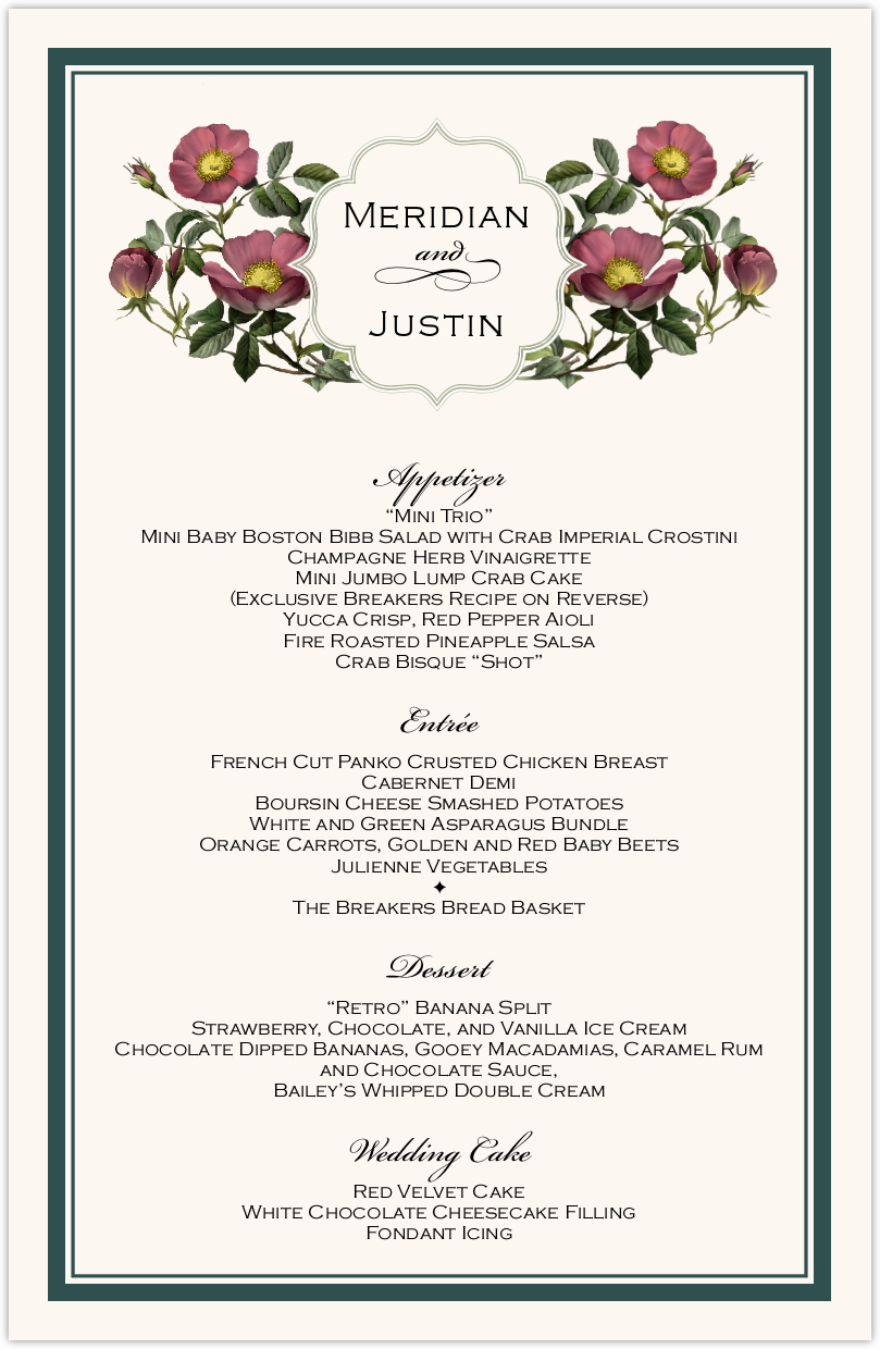Rose Garden Wedding Menu Cards | Custom Menu Card Designs, Samples ...