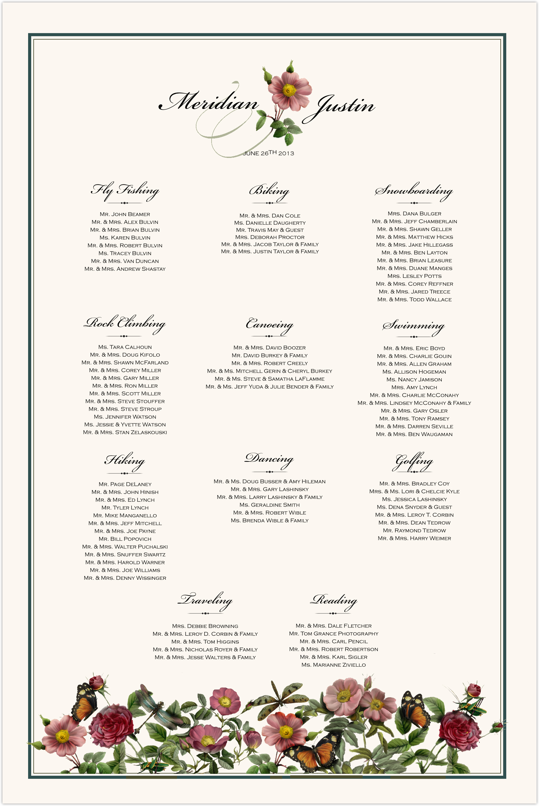 Rose Garden Seating Charts