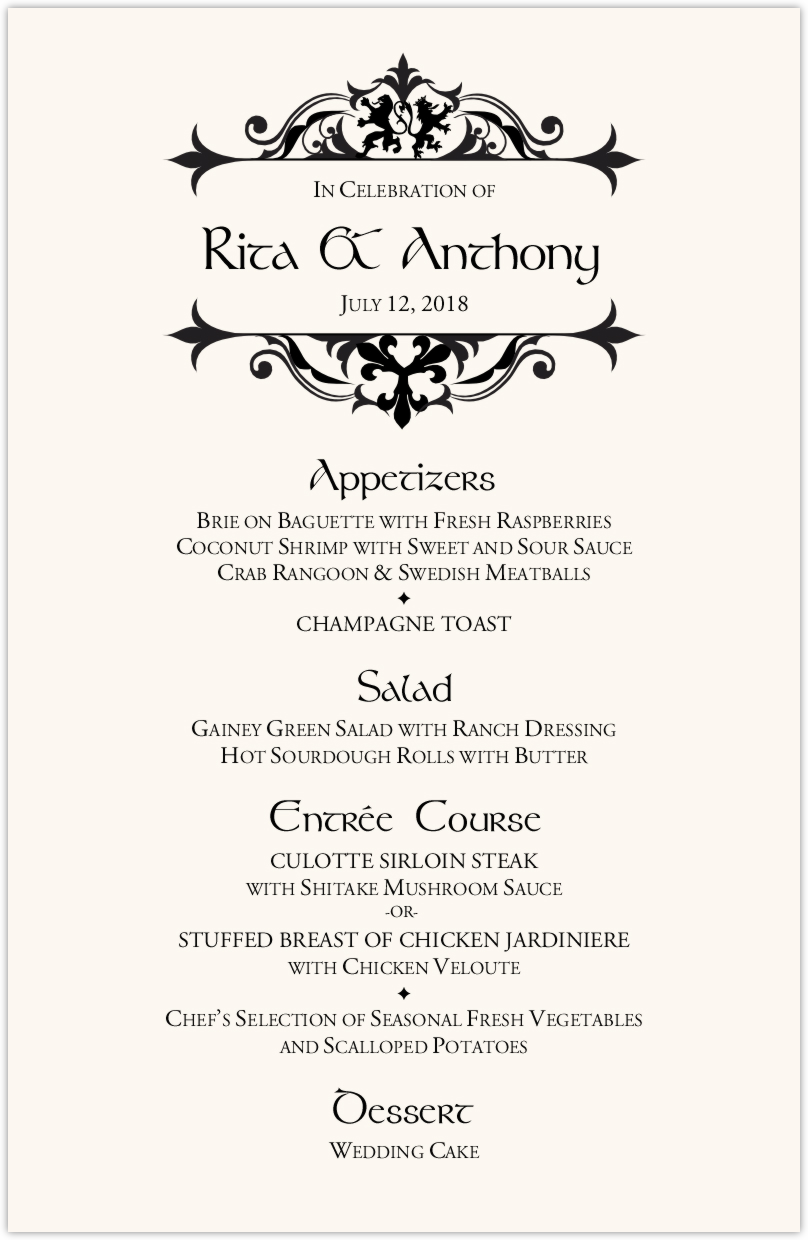 Royal Lion Wedding Menus