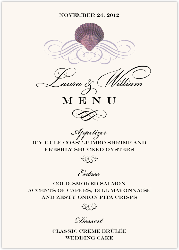 Seashell Scallop Swirl Wedding Menus