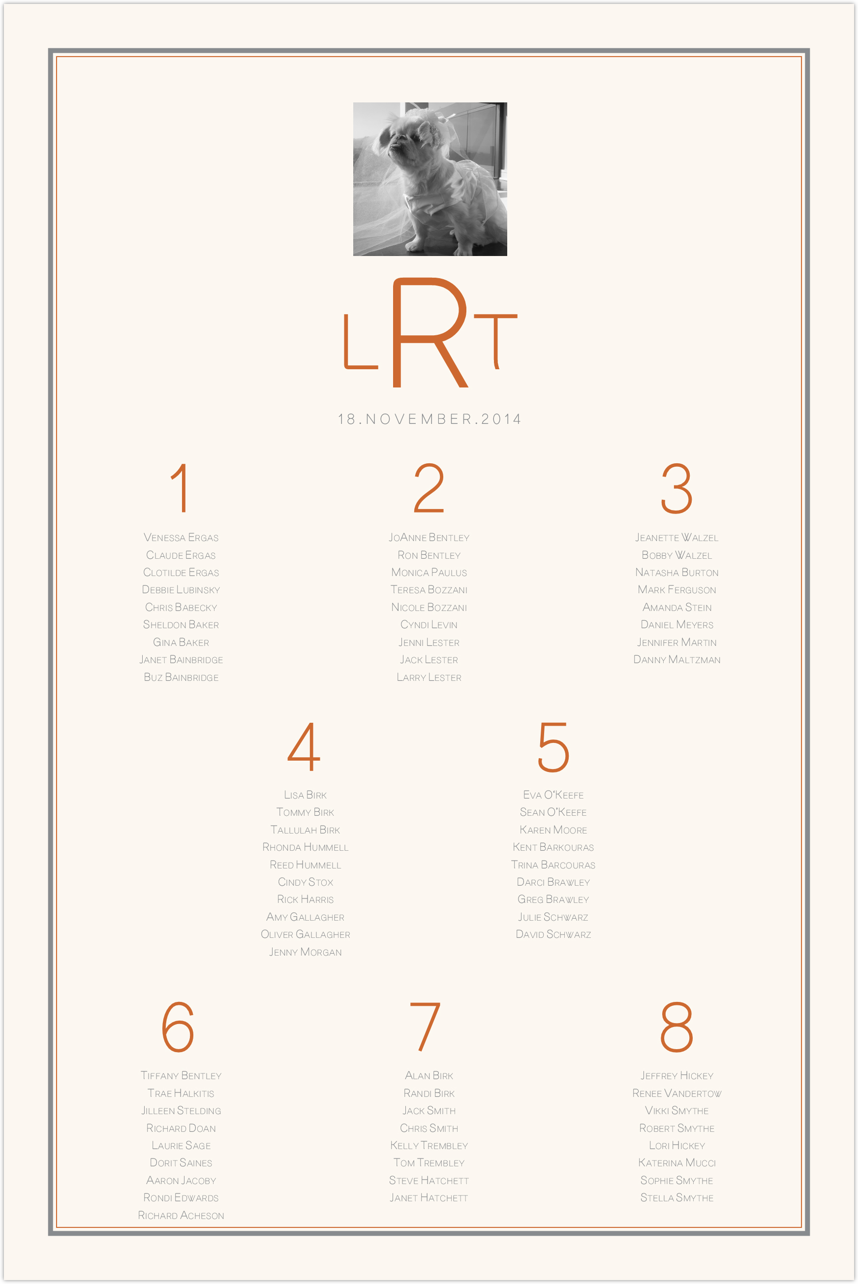 Simple Affair Photography Seating Charts