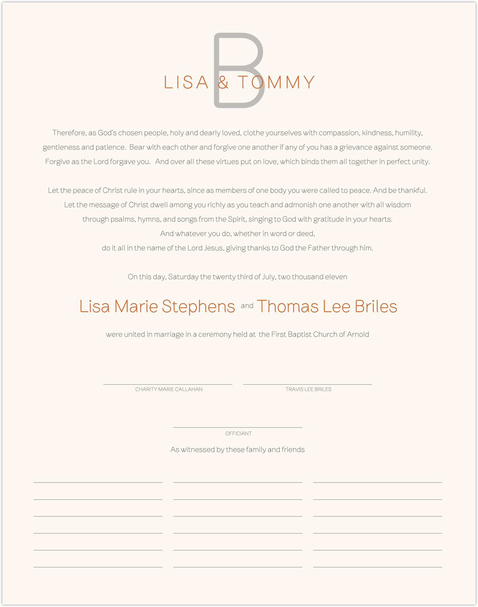 Brownstone Monogram 15 Wedding Certificates