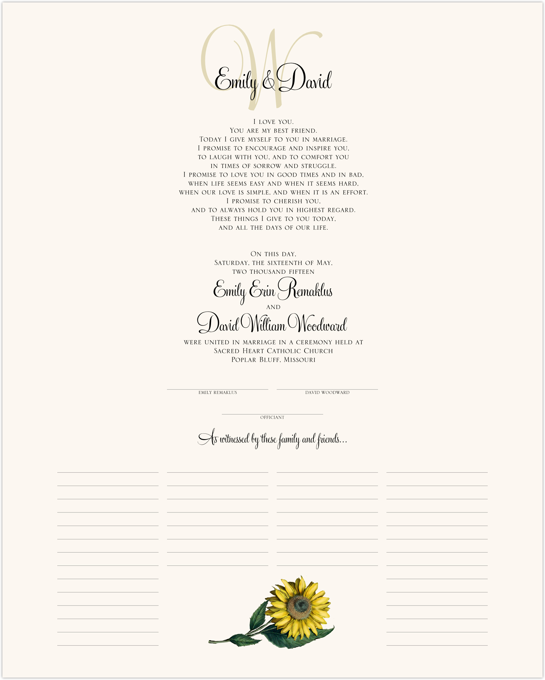 Sunflower Wedding Certificates