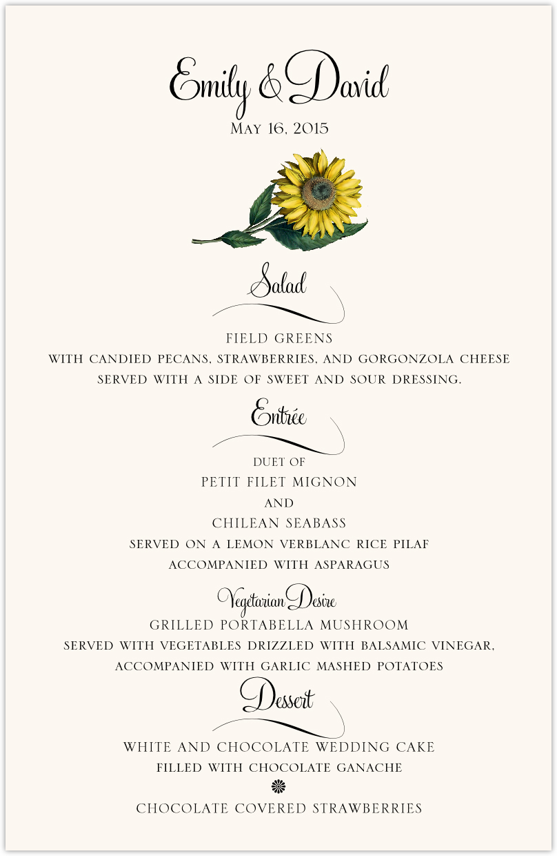 Sunflower Wedding Menus