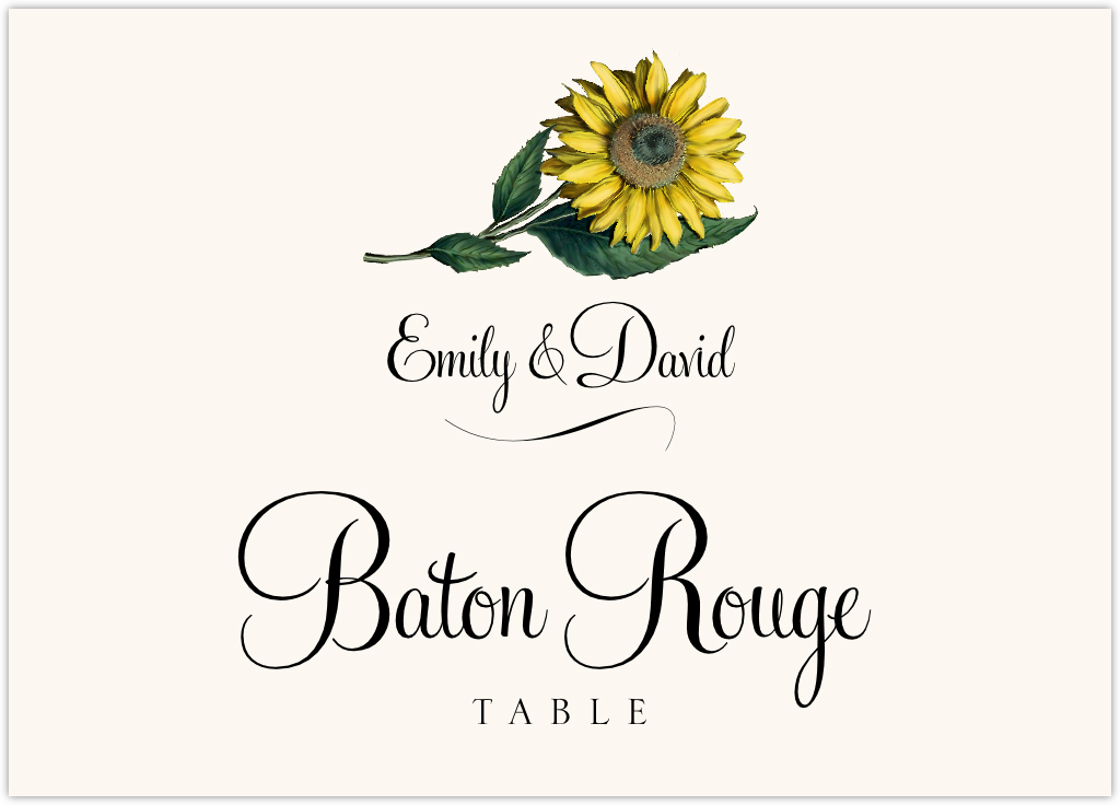 Sunflower Table Names