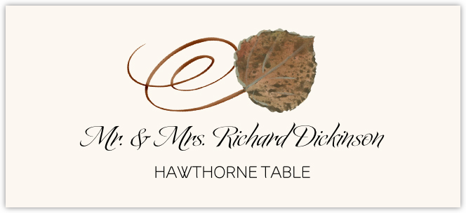 Hawthorne Swirly Leaf Place Cards