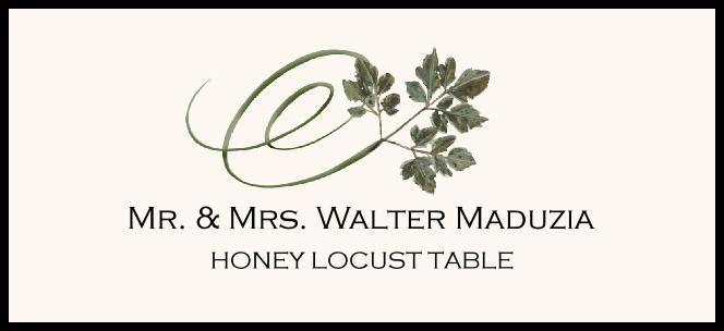 Honey Locust Swirly Leaf Place Cards