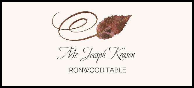 Ironwood Swirly Leaf Place Cards