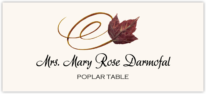 Poplar Swirly Leaf Place Cards