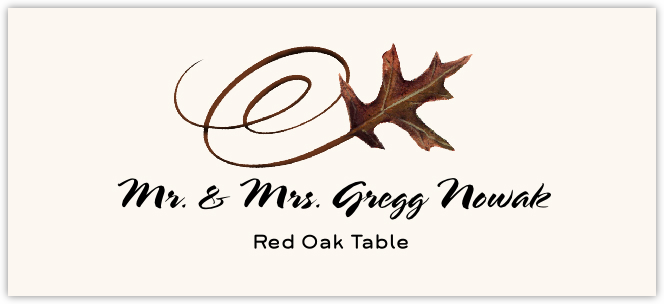 Red Oak Swirly Leaf Place Cards