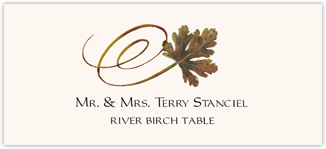 River Birch Swirly Leaf Place Cards