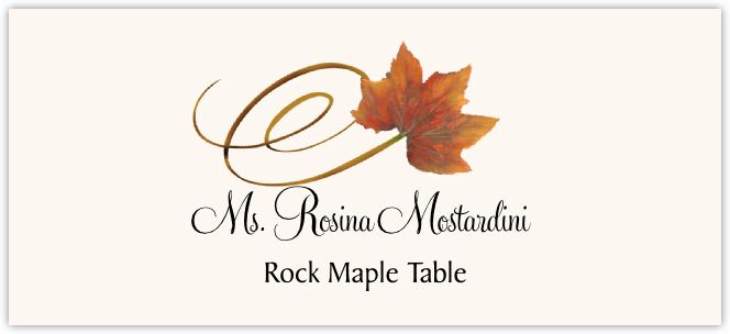 Rock Maple Swirly Leaf Place Cards