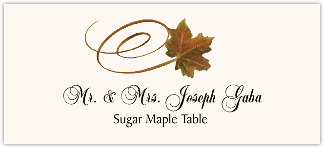 Sugar Maple Swirly Leaf Place Cards