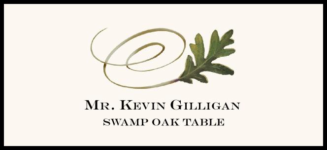 Swamp Oak Swirly Leaf Place Cards