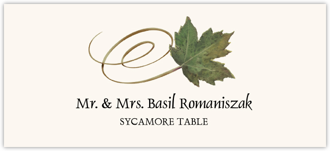 Sycamore Swirly Leaf Place Cards