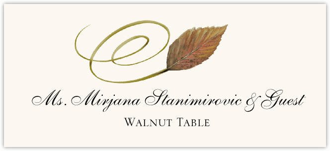 Walnut Swirly Leaf Place Cards