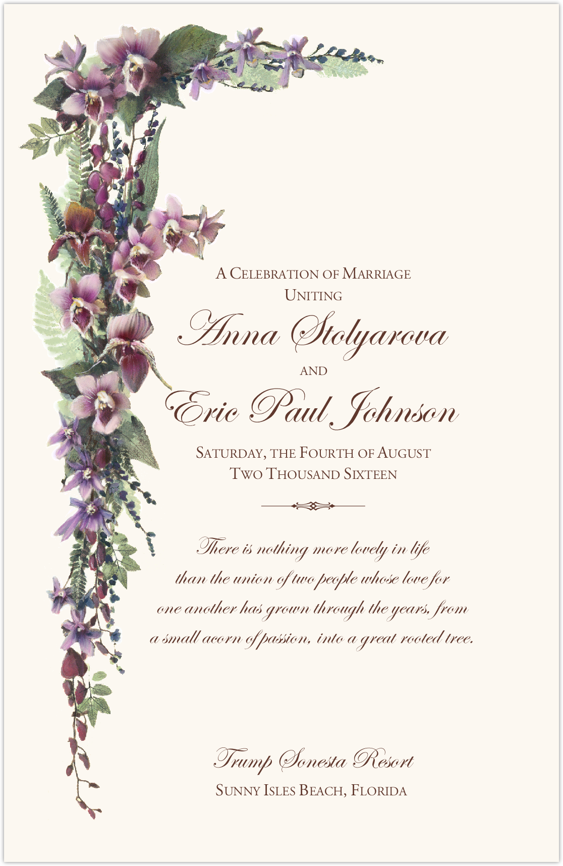 Purple Tropical Flowers and Orchid Cascade Church Wedding Program ...