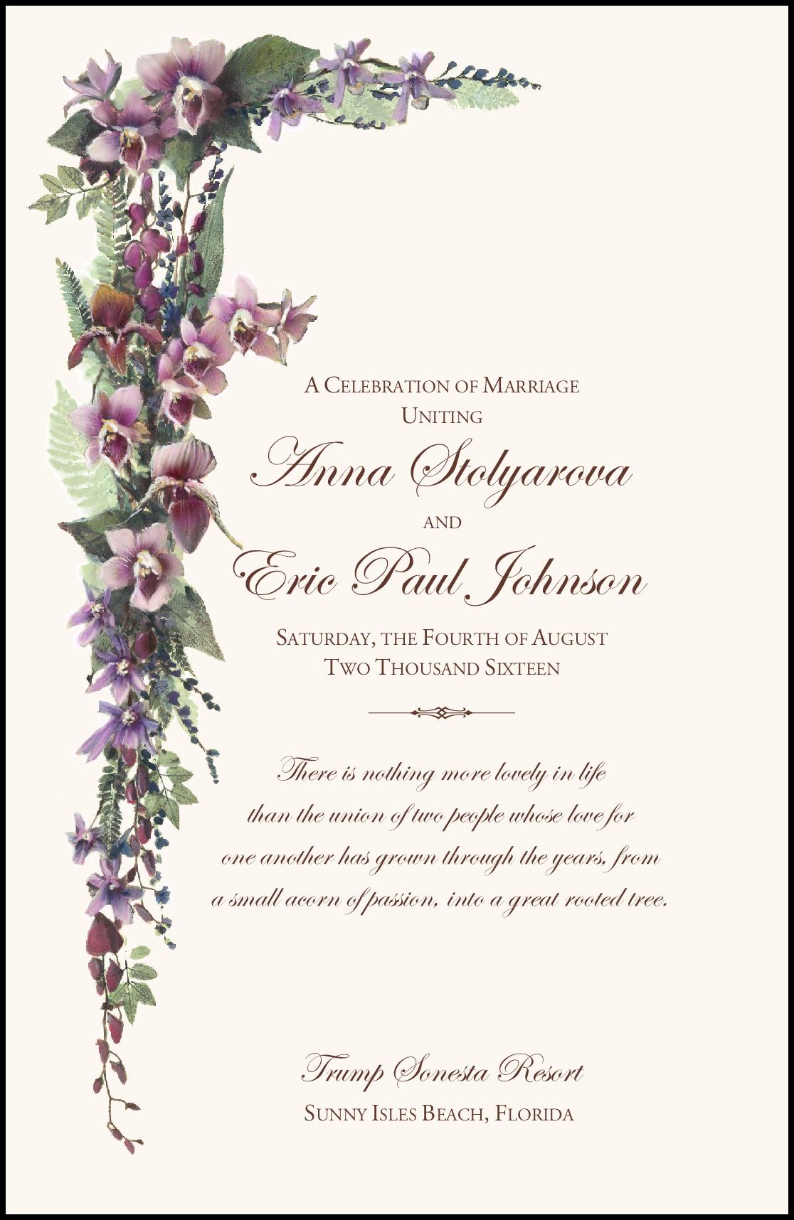 purple tropical flowers and orchid cascade church wedding program