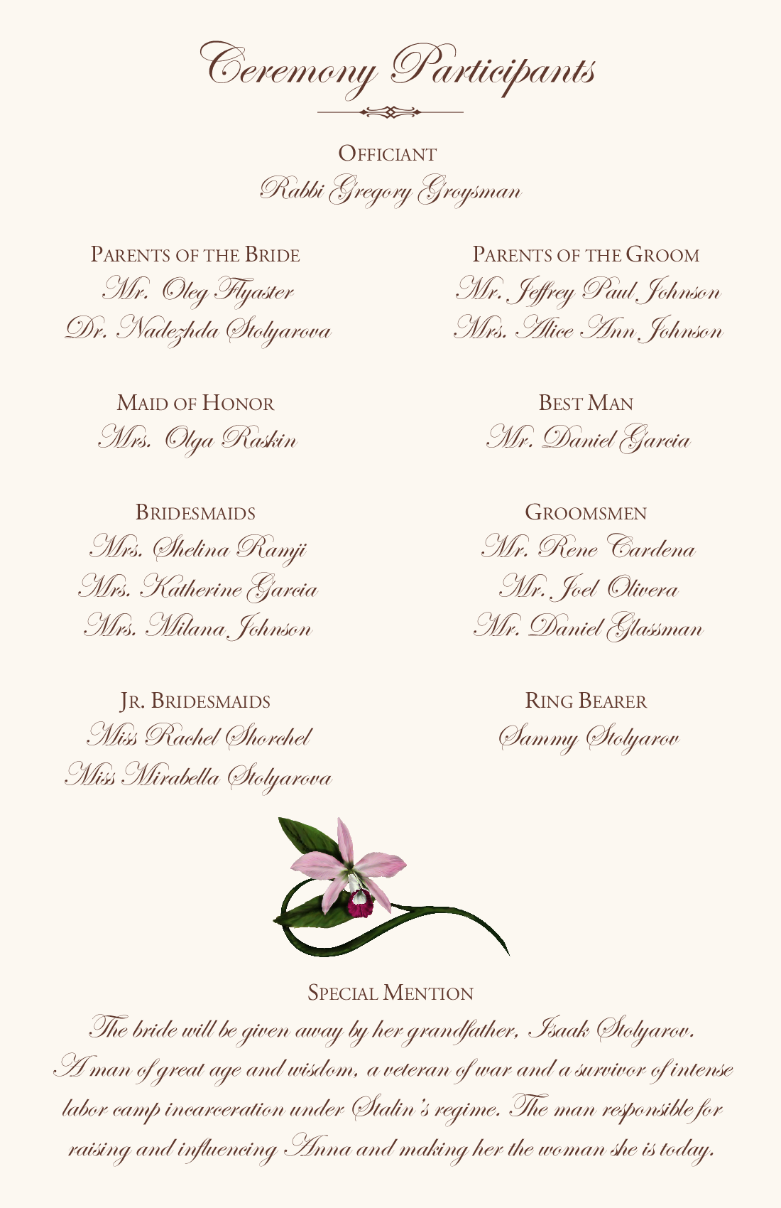 Sample program ceremony for Wedding blessing order of service template