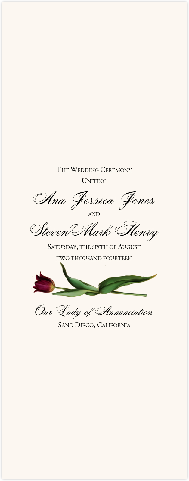 Tulip Bulbs Wedding Programs