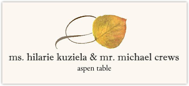 Aspen Twisty Leaf Place Cards