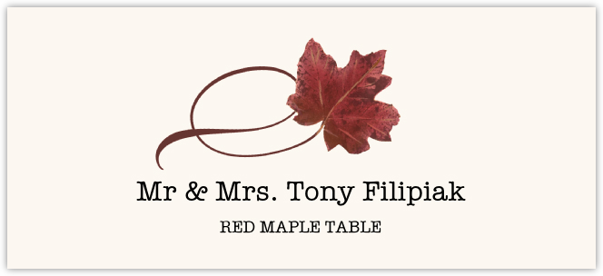 Red Maple Twisty Leaf Place Cards