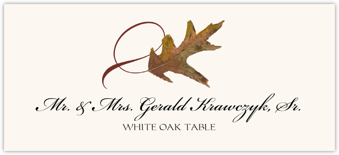 White Oak Twisty Leaf Place Cards