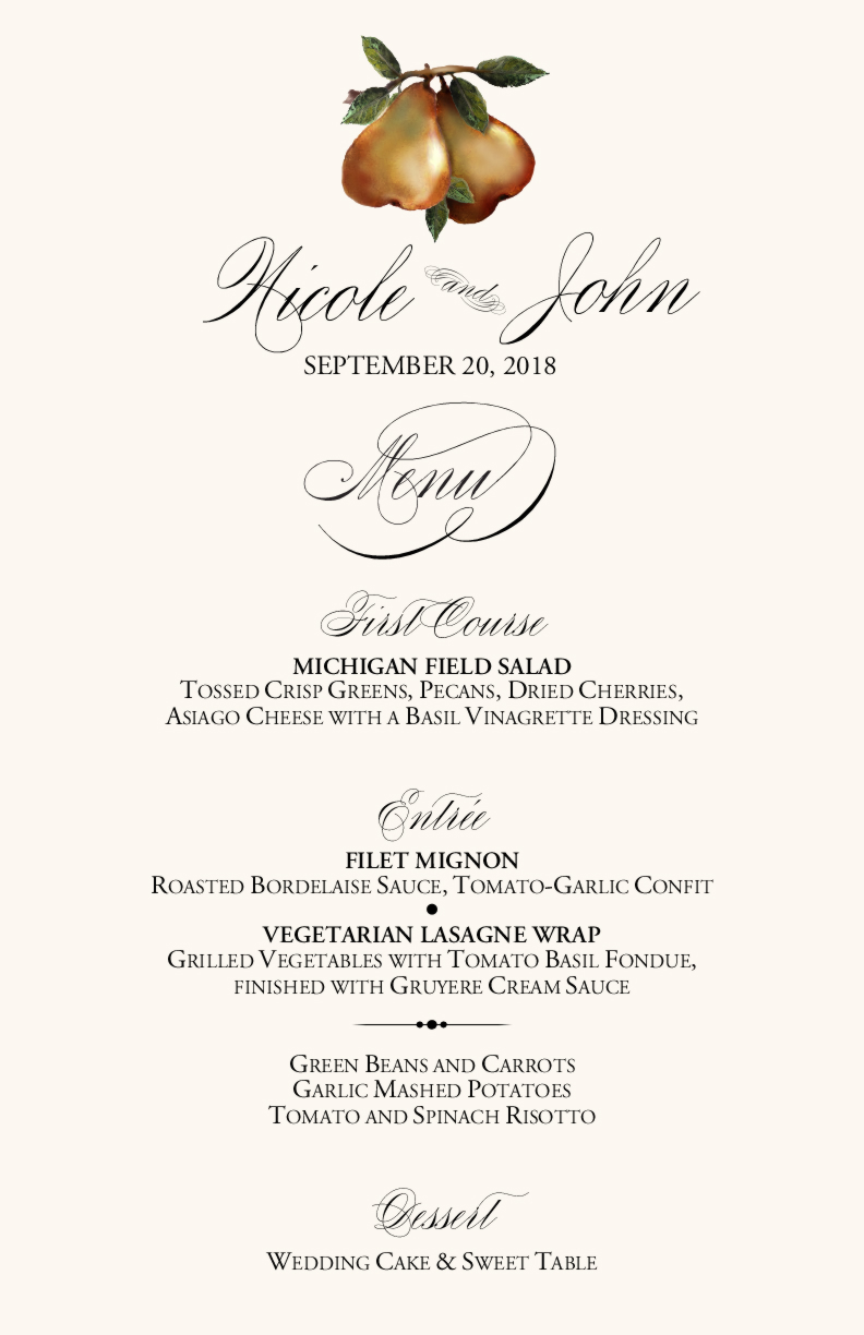 Vineyard Wedding Menu CardsVineyard Wedding IdeasGrapesFruit