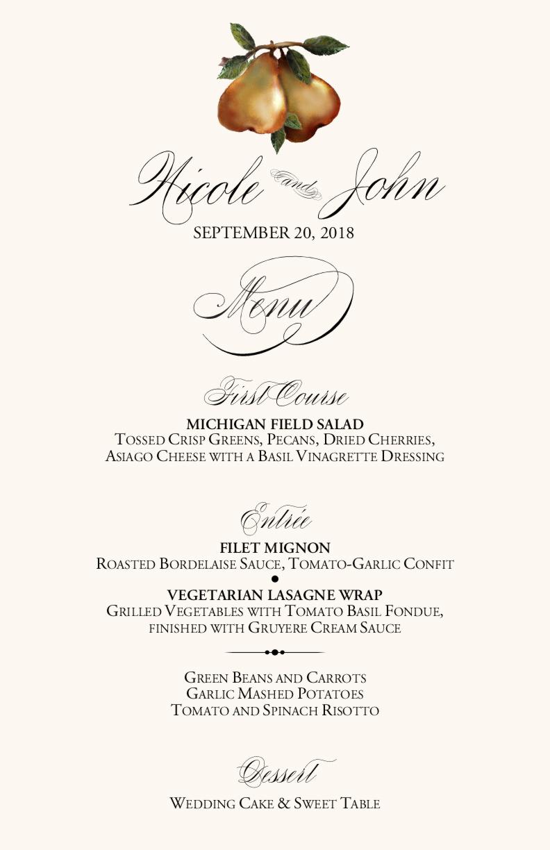 vineyard wedding menu cards