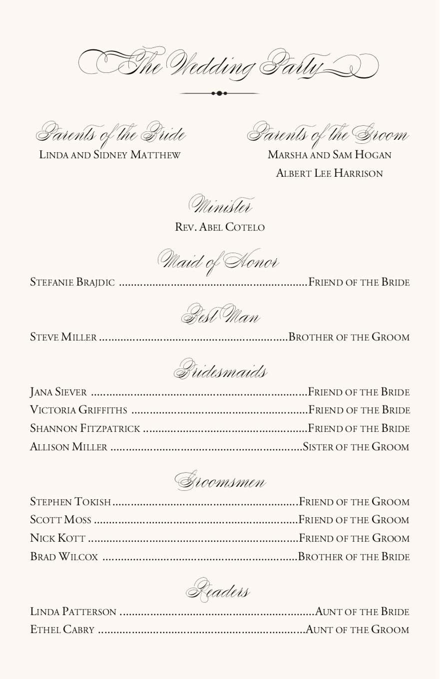 Pears Themed Wedding Program Examples-Wedding Program Wording ...