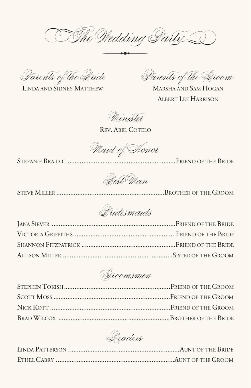 Vineyard Themed Wedding Program Examples Wedding Program Wording Wedding Ceremony Programs