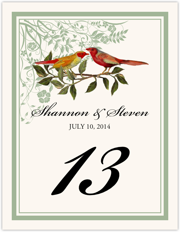 Two Red Birds - Windy Afternoon Table Numbers